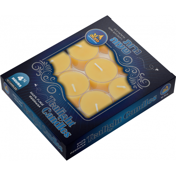 12 pk -Yellow Beeswax Tealights Shabbos candles 4.5 hour