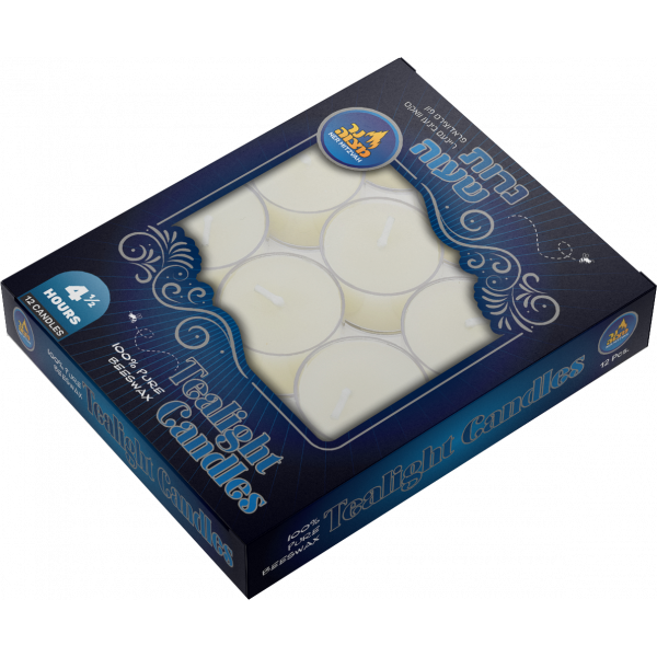 12 pk -White Beeswax Tealights Shabbos candles 4.5 hour