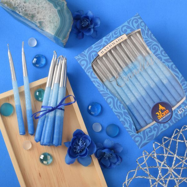 Decorated Blue With Silver Tip Chanukah Candle 45pk.