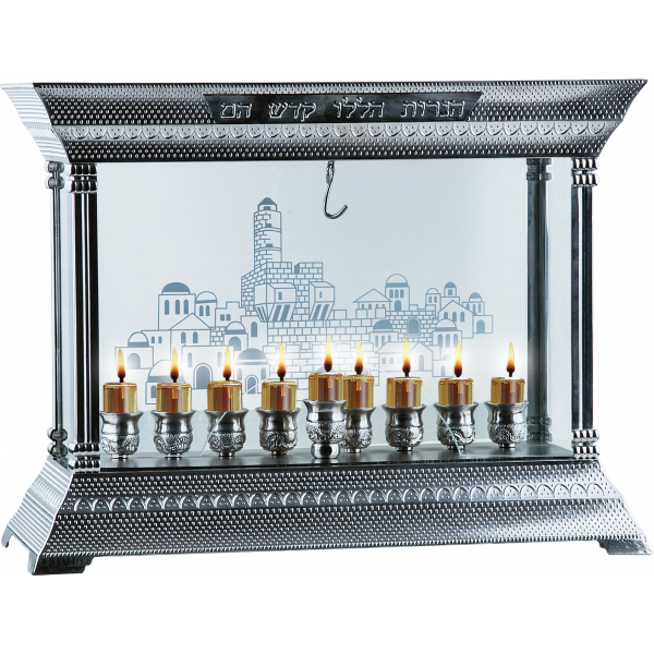 Menorah with Glass Walls - Nickel Plated
